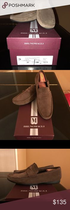 Bruno Magli mens suede driving shoes. Size 10.5 in dark taupe.  Shoes are in like new condition 9/10. Bruno Magli Shoes Loafers & Slip-Ons