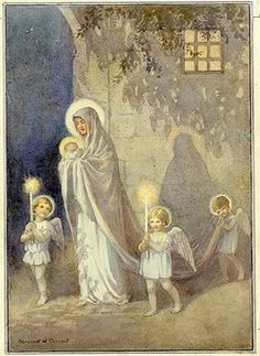 'To Light His Path' - The Virgin Mary holding the baby Jesus in here arms. She is escorted by three angels holding candles.
