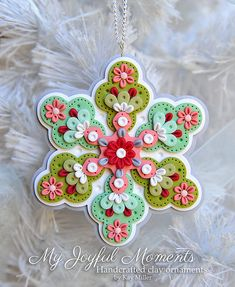 Handcrafted Polymer Clay Floral Snowflake Ornament