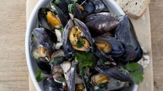 Donegal mussels in coconut green curry broth with pineapple, shiitake and spring onions Stuffed Mushrooms, Stuffed Peppers, Green Curry, Curry Paste, Donegal, Mussels, Coriander, Onions