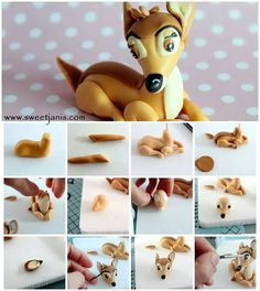 Bambi tutorial. More detail here: http://cake.corriere.it/2014/05/27/il-cerbiatto-bambi/#more-16678