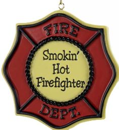 6299.5 Fire Fighter Badge Ornament Smokin Hot a0839ChicagoFireAndCopShop.com Chicago Fire Department and Chicago Police Department gifts.