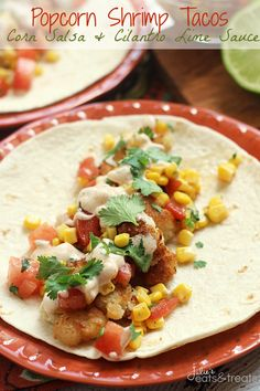 Popcorn Shrimp Taco with Corn Salsa and Cilantro Lime Sauce