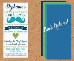 Mustache baby shower invite