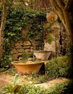Want your garden to spring to life? Add a pond or water feature. Unless there's some other water source right nearby, providing fresh water. You can't deny – a water feature in the garden really bumps up the overall ambiance. The Secret Garden, Secret Gardens, Hidden Garden, Patina Farm, Water Features In The Garden, Garden Features, Garden Fountains, Water Fountains, Fountain Garden