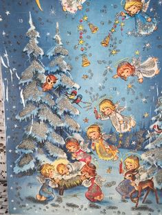 Kruger Xmas Nativity Angels Glitter Advent Calendar Card Western Germany VTG IOP…