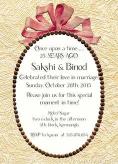 ribbon themed 25th wedding anniversary invitation wordings