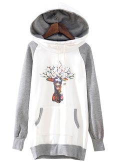 White Contrast Grey Hooded Deer Print Sweatshirt - Sheinside.com
