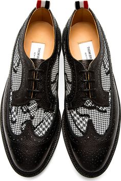 Thom Browne Black Longwing Houndstooth Brogues