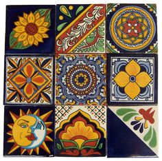 9 Hand Painted Made to Order Talavera Tile Set - mediterranean - Tile - Casa Daya Tile and Sink Co.