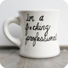 I discovered this Fcuking Professional Funny Mug coffee tea cup diner mug black white hand painted gag gift office on Keep. View it now.