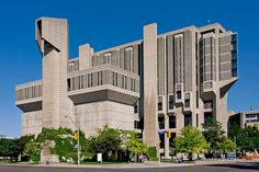"""Robarts Library at the University of Toronto - photo by Stephen Bay;  in Toronto, Ontario, Canada;  """"Its towering main structure rests on an equilateral triangular footprint and features extensive use of triangular geometric patterns throughout.""""   - info from Wikipedia"""