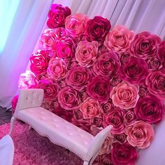 Ann Neville Design is a paper floral business that makes paper flowers, paper roses, and templates. Paper Flower Art, Paper Flower Backdrop, Giant Paper Flowers, Paper Roses, Diy Flowers, Pink Backdrop, Quince Decorations, Wedding Decorations, Rose Wall