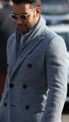 Cashmere Knit Herringbone Jacket, and Clear Acetate Sunglasses, at Pitti Uomo. Mens Fall Winter Street Style Fashion.