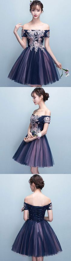 cute lace tulle short prom dress, cocktail dress