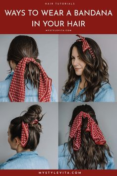 5 Fun ways to wear a bandana in your hair this summer. From simple ponytails, to headbands and two ways to fold your silk bandanas for a new look! hairstyles How To Wear A Bandana In Your Hair This Summer - My Style Vita Bandana Headband Hairstyles, Headbands For Short Hair, Cute Girls Hairstyles, Scarf Hairstyles, Everyday Hairstyles, Messy Hairstyles, Bandana Updo, Bandana Headbands, Tie Headband