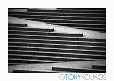 cement, steps, lines, horizontal, angles, black, Tony Koukos, Koukos