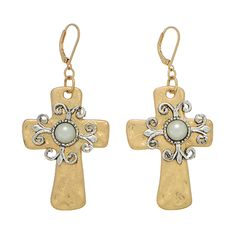 Gold tone cross lever back earring topped with silver tone scroll focal, accented with a pearl tone bead.