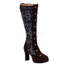 Demonia Steampunk Knee High Tweed Boots ❤ liked on Polyvore featuring shoes, boots, brown boots, knee high boots, steam punk boots, brown knee length boots and knee length boots