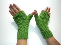 Green Apple  Merino Hand Knit Fingerless Gloves by ginaminda, $39.00