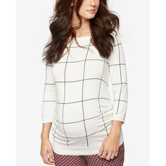 A Pea In The Pod Maternity Boat-Neck Plaid Sweater ($78) ❤ liked on Polyvore featuring maternity