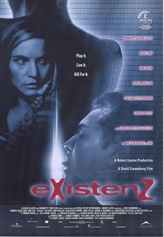 eXistenZ , starring Jude Law, Jennifer Jason Leigh, Ian Holm, Willem Dafoe. A game designer on the run from assassins must play her latest virtual reality creation with a marketing trainee to determine if the game has been damaged. #Sci-Fi
