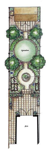 Long, narrow garden with formal, circular theme highlighted by a round lawn. #gardenplanningarchitecture #gardeningplanslayout