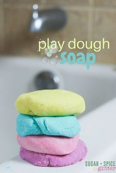 Bath Time Play Dough (with Video) ⋆ Sugar, Spice and Glitter How to make homemade play dough soap - a fun idea for bath time sensory play, this play dough soap actually suds up and cleans and doesn't leave any residue on your bath Homemade Playdough, Homemade Soap Recipes, Homemade Gifts, Bath Recipes, Castile Soap Recipes, Como Hacer Play Doh, Bath Bombs, Shower Bombs, Diy Lush