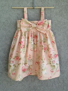 Pink Floral Baby Dress, 100% Cotton via Etsy