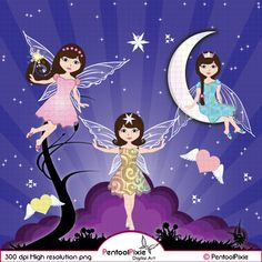Moon Fairies Clipart Fairy Clipart Fairy Clip Art by PentoolPixie