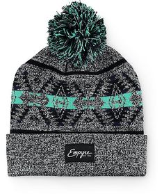 Add a fun and festive new look to your beanie collection with a mint and navy jacquard knit tribal design on a heather grey upper.