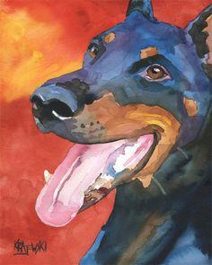 Doberman Pinscher Art Print of Original Watercolor by dogartstudio