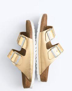 Birkenstock for J.Crew women's metallic Arizona sandals. To preorder call 800 261 7422 or email verypersonalstylist@jcrew.com.