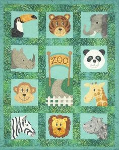 Zany Zoo Faces Applique Quilt Pattern - Baby Animal Faces - Lion - Monkey - Bear #SpringCreekNeedleArt