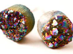 Boho Earrings - Full Moon - Rainbow Colorful Raw Druzy Round Titanium Stud Earrings - Black, Circle, Post, Jewelry, Hippie, Hipster
