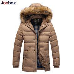 JOOBOX New Long Winter Men Clothing brand Casual Jacket And Cotton Parkas Male Big men Coat fur hooded men winter coat