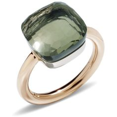 Pomellato Nudo Prasiolite Maxi Ring (€2.325) ❤ liked on Polyvore featuring jewelry, rings, pomellato rings, pomellato, green quartz jewelry, rose jewelry and rose ring