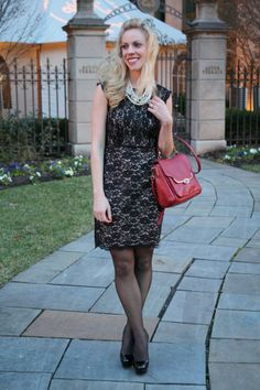 "Updated Classics: lace dress, pearl statement necklace, red Coach bag, Christian Louboutins ""Bianca"", holiday look"