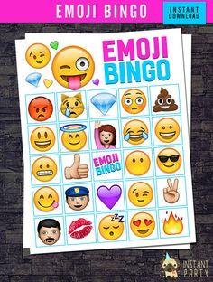 EMOJI BINGO  12 Bingo Cards  24 Calling Cards  by instantparty