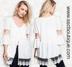 How amazing is our Bell Sleeve Lace Top in off white? LOVE IT!  Only $36.50! S,M,L! Click link to order now!  http://www.sscboutique.com/collections/new-arrivals/products/bell-sleeve-lace-off-white-top  #lace #bellsleeve #salmon #offwhite #shop #love