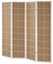3 & 4 Panel Rattan in-Lay Wooden Screen Room Dividers White Finish