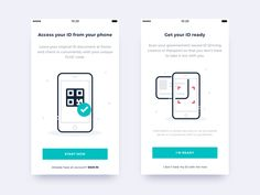 Your ID on your phone - On boarding designed by Simon Brunet. Connect with them on Dribbble; the global community for designers and creative professionals. Mobile App Design, Mobile Ui, Scanner App, Ui Components, Ui Design Inspiration, Animation Reference, Ui Ux Design, Boards, Coding