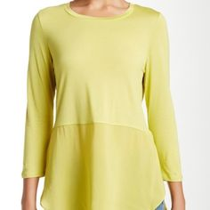 """Long Sleeve Vince Top Two by Vince, knit top with whirred lower panels of soft and floaty crepe.  Contrast hem and hi/lo shirttail hem.  100% rayon.  Approx 29"""" shortest and 32"""" shortest. Vince Camuto Tops Tunics"""
