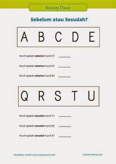 """belajar anak PAUD (TK/SD kelas 1) : konsep dasar tentang """"sesudah"""" dan """"sebelum"""" menggunakan gambar huruf"""
