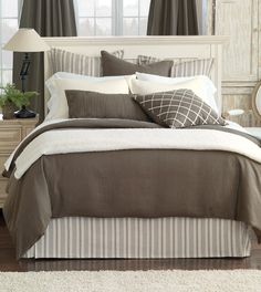 Luxury Bedding by Eastern Accents - Breeze Classic Linen Collection.  Solid colors duvets in linen.  Best choice with print on headboard?