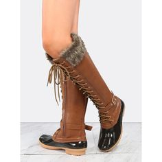 Lace Up Knee High Duck Boots TAN ($37) ❤ liked on Polyvore featuring shoes, boots, brown, brown boots, knee high boots, laced up flats, tan boots and tan lace up boots