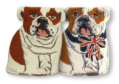 Two Bulldogs in needlepoint Bulldogs, Needlepoint, Scooby Doo, Needlework, Throw Pillows, Crafts, Fictional Characters, Art, Embroidery