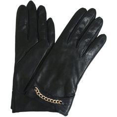 Black Nappa Leather Chain Detail Gloves, Portolano ($190)
