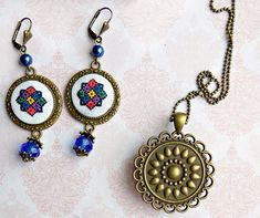 Items similar to Micro embroidery Ukrainian ornament set, Ukrainian gift, Hand Embroidery, Gift for women on Etsy 8 Martie, Pendant Necklace, Embroidery, Ornaments, Unique Jewelry, Handmade Gifts, Earrings, Projects, Etsy