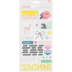 American Crafts Bloom Grow Puffy Accent And Phrase Thickers Stickers 69 Pieces | Hobbycraft
